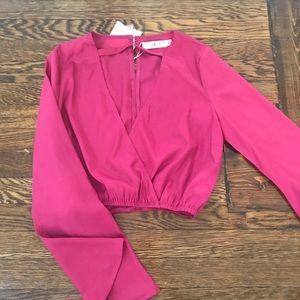 Missguided Hot Pink Long Sleeve Crop Choker Shirt